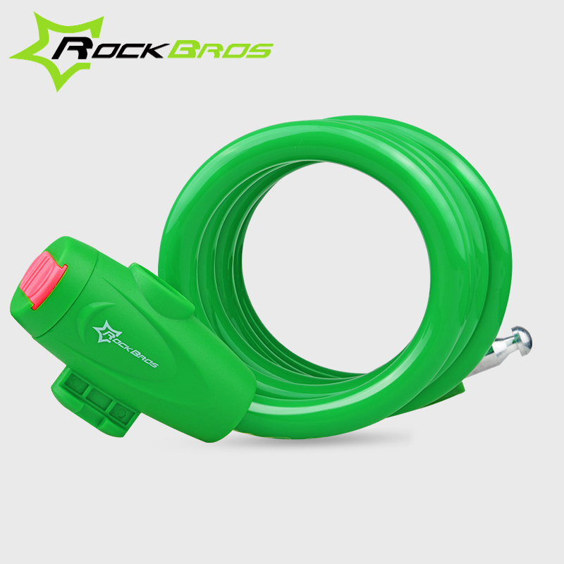 RockBros Bike Bicycle 5 Letters Code Lock Combination Coiled Cable Lock Black