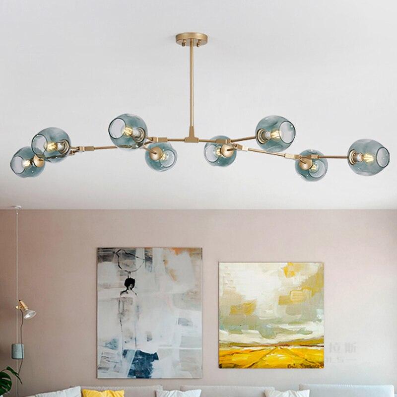 Luminaires suspension industrielle en or noir, Loft Vintage, lampe à suspendre en or noir, escalier de la salle à manger, Luminaire d'ombre en verre, suspension nordique suspendue