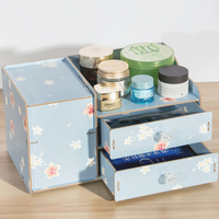 A variety of specifications of wooden cosmetics storage box water handle with lid drawer desktop finishing separate mirror