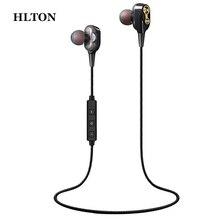 HLTON Sport In Ear 블루투스 헤드셋 중저음 스테레오 HiFi 이어 버드 유선 컨트롤 무손실 이어폰, iPhone 안드로이드 용 마이크 포함