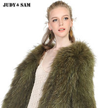 Real Raccoon Fur Coat Winter Women Wear Warm Braided Style Fullfy Knitted Raccoon Fur Jacket Fit Plus Size Free Shipping