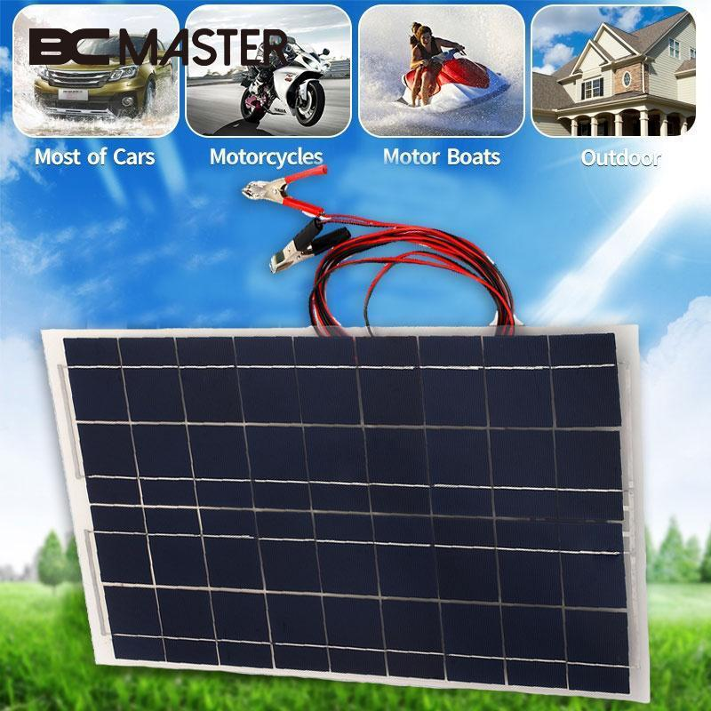 BCMaster New Portable Outdoor Travel Energy Solar Panel DIY Battery Charger USB 30W 18V for Power BankCharger W/Alligator Clip