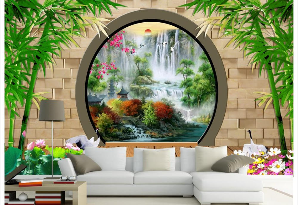 Chinese murals wallpaper brick bamboo custom photo for Chinese wallpaper mural