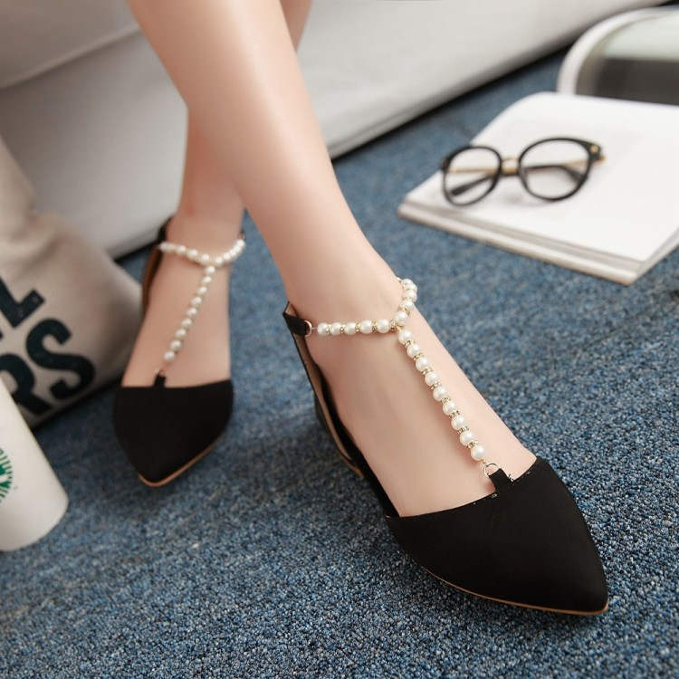 ФОТО Small ladies 31 pearl 32t belt 33 toe cap covering sandals plus size 40 - 43 - 47 women's low-heeled shoes free shipping