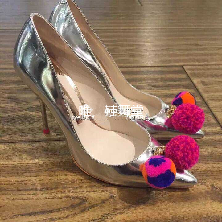 ФОТО Fashion Silver Mirror Leather High Heel Shoes Women Pointed Toe Pom Pom Cute Pumps Luxury Party Shoes Woman