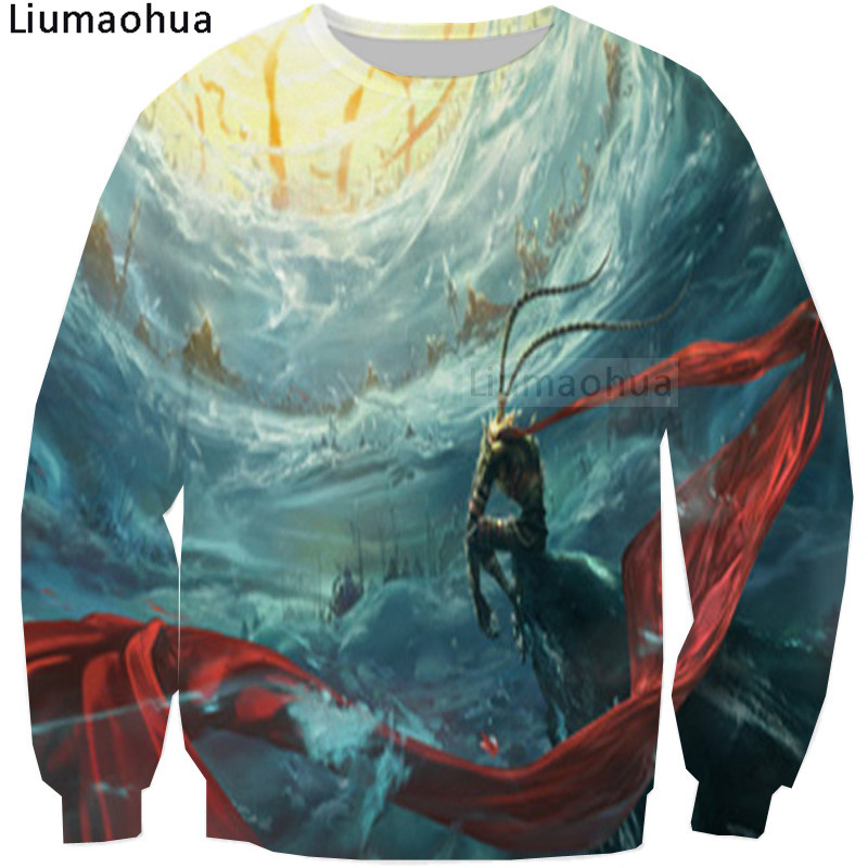Hoodies & Sweatshirts Liumaohua Brand Animation Movie Monkey King Is Back 3-d Printed Sweatshirt Tops Size S-5xl Relieving Rheumatism And Cold