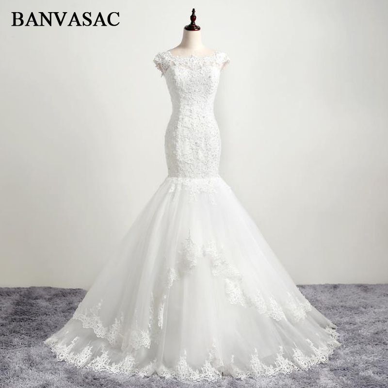BANVASAC 2017 New Mermaid Elegant Embroidery Boat Neck Wedding Dresses tanpa lengan Beadings Satin Lace Pengantin Gowns