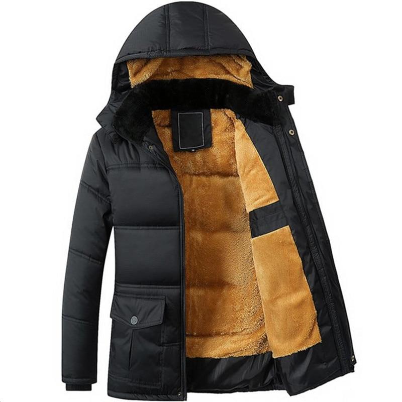 सर्दियों के नए पुरुषों की जैकेट प्लस मोटी मखमल काले हुड वाली जैकेट नीचे पुरुषों की कोट ओवरकोट कपास जैकेट