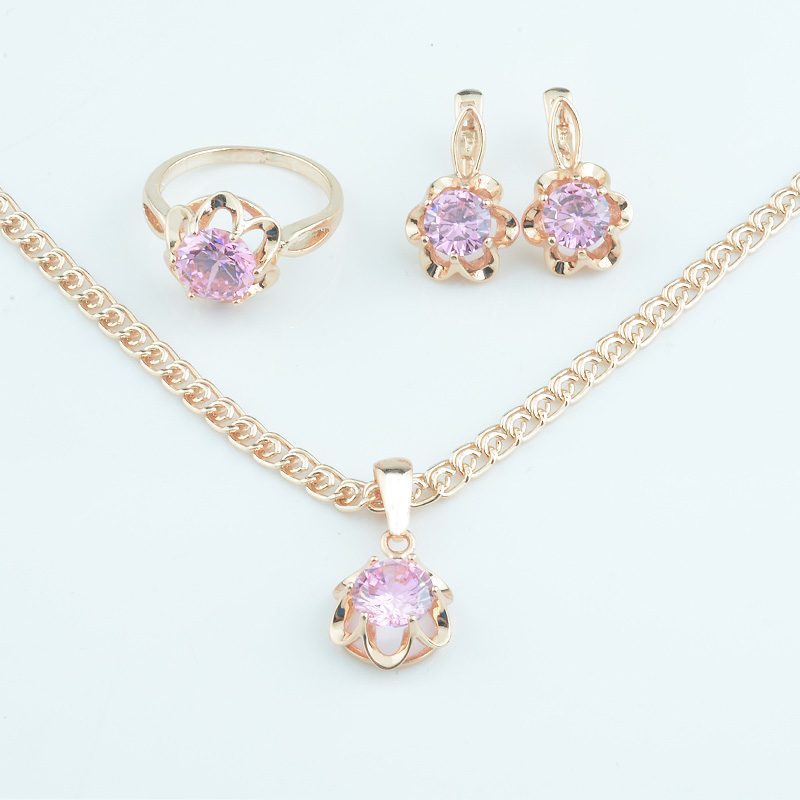 Jewelry-Sets Chain Earrings Necklace 585 Rose-Gold-Color Stone Cubic-Zircon Pink FJ Women