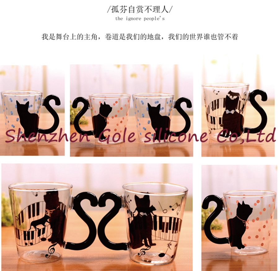 100pcs/lot Cute Creative Cat Kitty Glass Mug Cup Tea Cup Milk Coffee Cup Music/Dots/English Words Home Office Cup