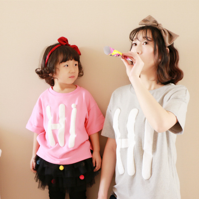 e23cc0a0 2 pieces/lot Family look clothing parent-child loaded wholesale T-shirt  matching mother daughter matching clothes son outfits