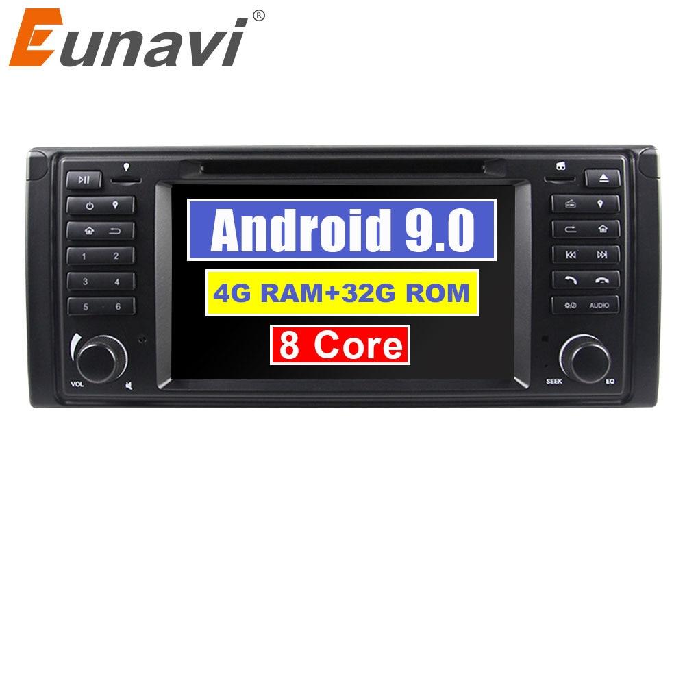 Eunavi Octa core Android 9.0 1 Din 4G RAM 32G ROM lecteur DVD de voiture GPS navi Radio stéréo pour BMW E39 1996-2003 E53 X5 avec wifi bt