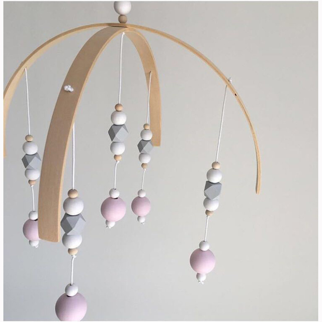 Baby Crib Mobile Bed Bell Rattle Toys Wooden Wind Chimes