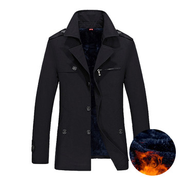 2018 Brand Business Casual Long Section Winter Jacket Men Trench Coat Fashion Windbreaker Mens Overcoat Warmth Plus Size M-5XL