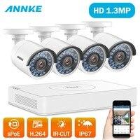 ANNKE 8CH HD 1.3MP POE NVR комплекты IP67 Открытый POE IP Камера HD 960 P NVR Регистраторы видео безопасности Камера наблюдения Системы