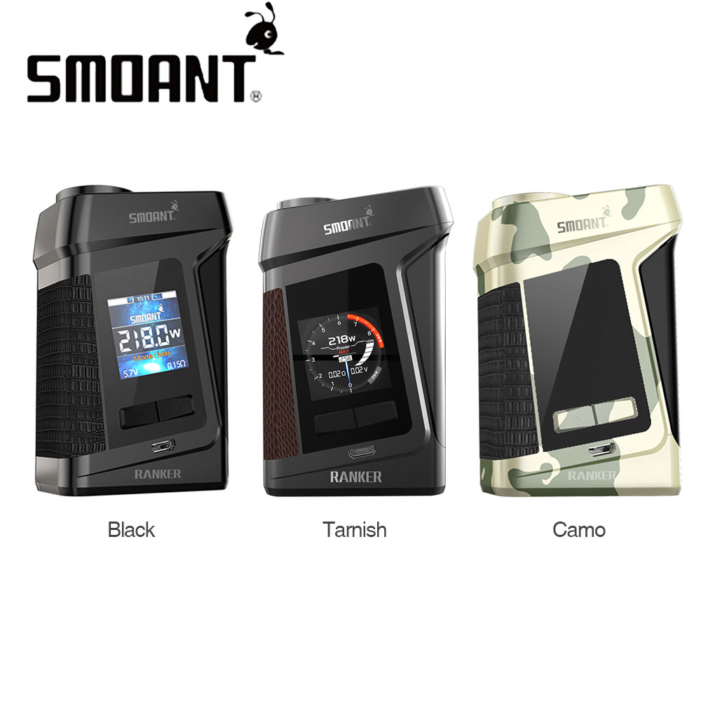 Original 218W Smoant Ranker TC Box MOD with 1.3-inch TFT Colorful Screen & Ant218 Chipset No 18650 Battery E-cig Vape Box ModOriginal 218W Smoant Ranker TC Box MOD with 1.3-inch TFT Colorful Screen & Ant218 Chipset No 18650 Battery E-cig Vape Box Mod