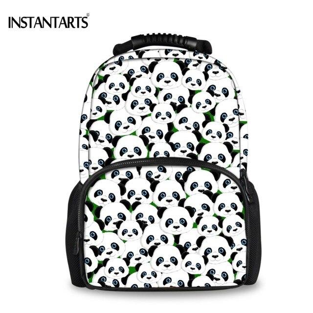 a28c9c4882c7 US $28.11 24% OFF|INSTANTARTS Cute Animal Backpacks for Teenagers Boys  Black Panda Print Book Shoulder Bag Casual Middle School Students  Rucksacks-in ...