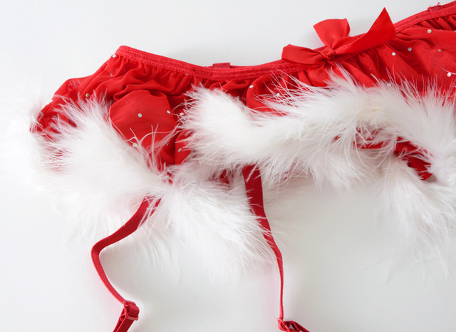 Red Christmas sexy women's garter belt for stockings