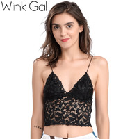 2017 New Fashion Embroidery Lace Crop Top Mesh Women Top Sex Bralette Plunge Brassiere Comfortable Lingerie