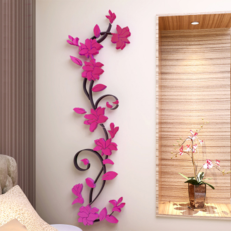 Colorful 3D Flower Removable Vinyl Quote Wall Sticker DIY Rose