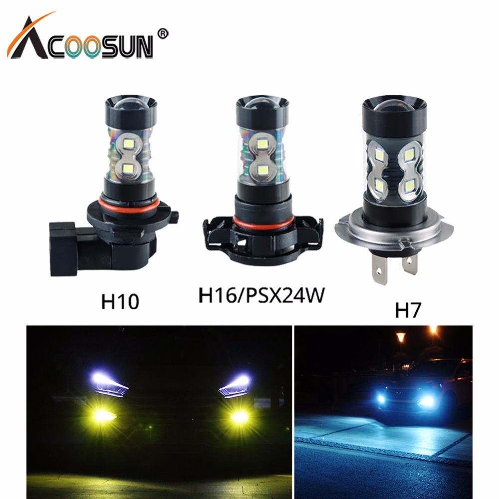 цена на Led H7 H11 H8 H9 Car Lamp Bulbs 1200LM 9005 Hb3 9006 Hb4 Passing Light 12V H1 H3 H10 PSX24W 6000k 8000k Led Fog Lights DRL Bulb