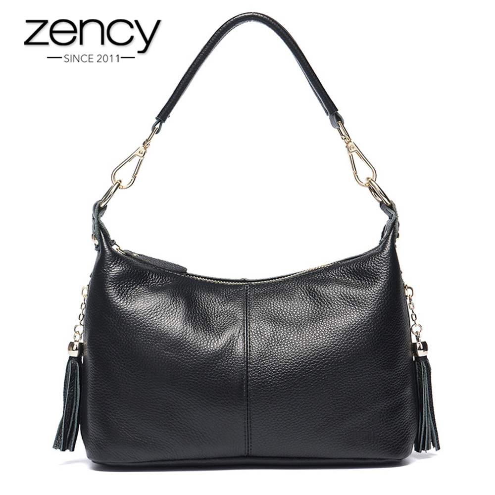 Zency Fashion Female Shoulder Bag 100% Natural Leather Women Handbag With Tassel Lady Messenger Crossbody Purse Small Bags Tote 2017 new fashion women handbag big button round bucket bag lady leather one shoulder messenger small tassel bags