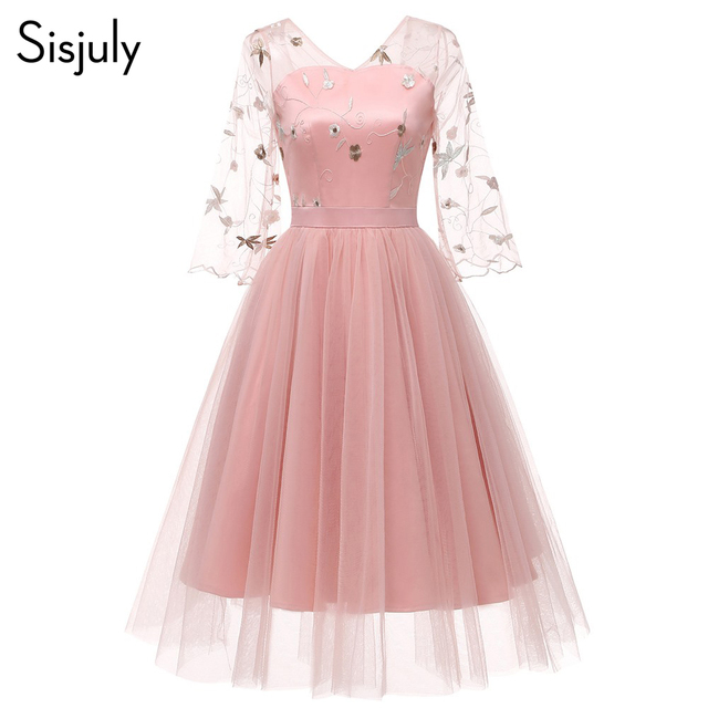Sisjuly Vintage Sweet Pink Lace Women Dresses Loose Flare Sleeve Elegant Plain Mesh Girls Cute Fashion Female Embroidery Dress