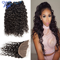 Indian water wave with closure lace frontal closure with bundles,4pcs/lot MS here Indian virgin hair wet and wavy human hair