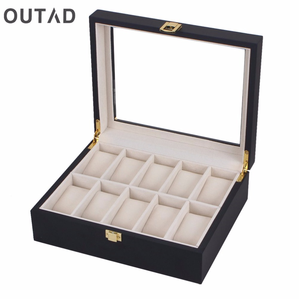 OUTAD 10/12 Grids Slots Black Wood Jewelry Watches Boxes Storage Organizer Case Fashion Watch Holder Organizer Box Holder Matt red wooden watch storage case 6 grids watches display box red lacquer jewelry watch boxes fashion watch storage gift boxes