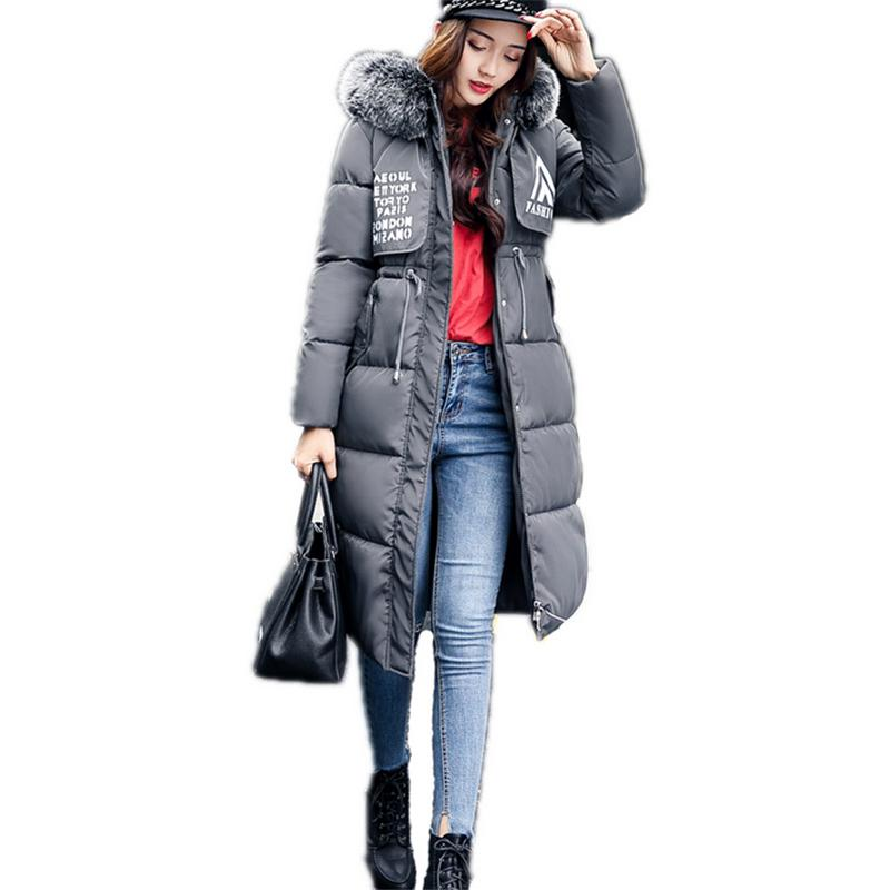 Brand Fashion Winter Women Down Jackets Fur Collar Female Long Coats Outerwear Thicken Parka Solid Color Plus Size Jackets 100% white duck down women coat fashion solid hooded fox fur detachable collar winter coats elegant long down coats