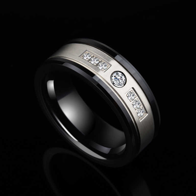 b8a8d354ce9 2018 New Arrival Luxurious Jewelry 8mm Width Black Ceramic Rings for Man s  Wedding Band Inlay Shiny