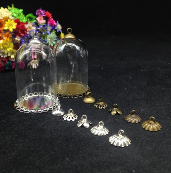 50pcs 38*25mm Transparent glass globe DOUBLE LACE base beads cap glass vial pendant bottle dome terrarium vase diy necklace gift