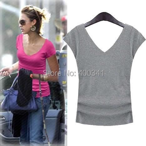 Short-sleeve female V-neck racerback t-shirt 100% cotton slim basic shirt racerback women's 100% cotton shirt WT1216