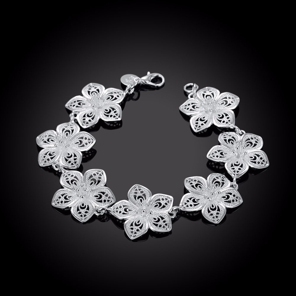 LEKANI hot sale 925 Sterling Silver Plum bracelet beautiful flowers for women classic high- quality fine jewelry 5