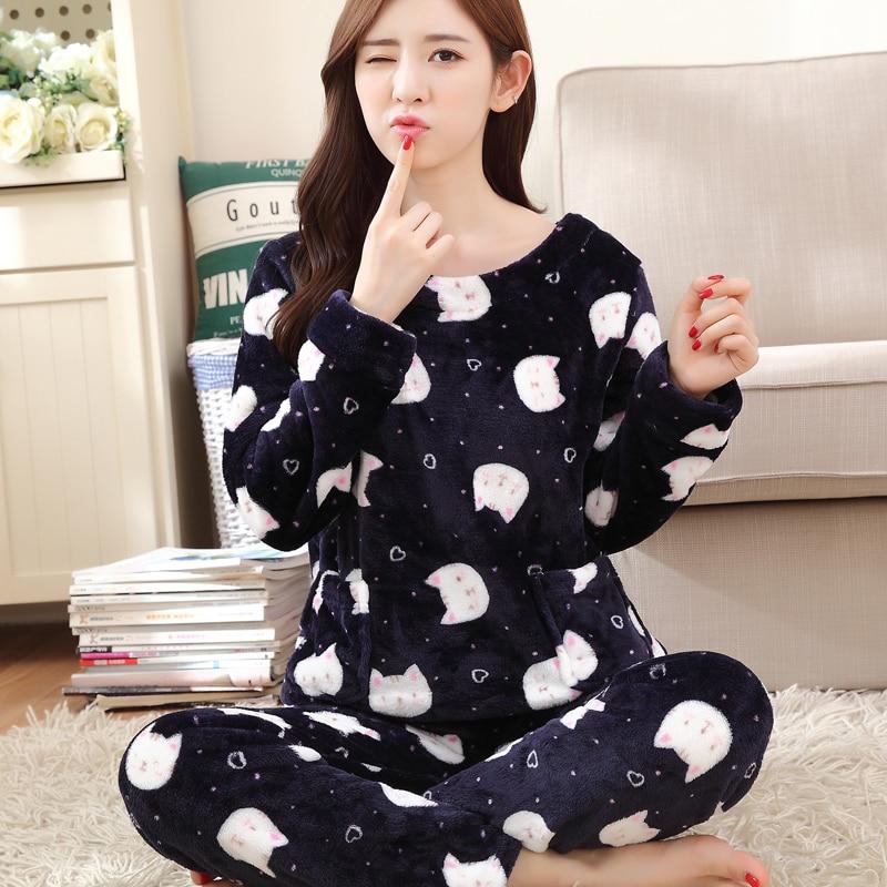 2018 Autumn Winter Women   Pajamas     Set   Sleep Jacket Pant Sleepwear Warm Nightgown Female Cartoon Bear Animal Pants Sleepwear