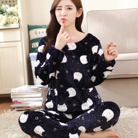 8e635bddbe 2016 Autumn Winter Women Pajamas Set Sleep Jacket Pant Sleepwear Warm  Nightgown Female Cartoon Bear Animal