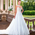 Vestido де Casamento само назад аппликации свадебные платья 2016 романтический повод-образным вырезом Vestido де Noiva сексуальная свадебные платья ZY4704