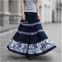 2017 New Fashion Summer Women Long Skirts 50s Vintage Pleated Linen Skirt Ladies Print Patchwork Bohemian