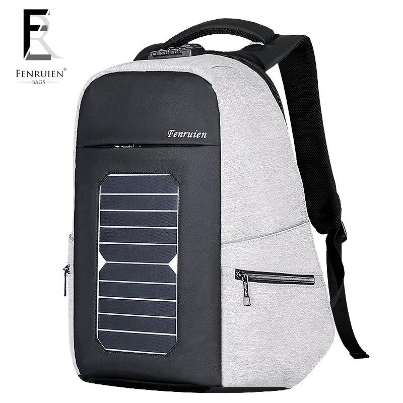 Kapazität Neue Männer Rucksack Solar Diebstahl Hohe tasche Benutzerdefinierte Lade 2018 Business Fenruien Usb Reiserucksack weiß Laptop Schwarzes FRH05q
