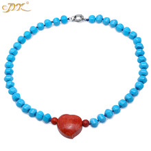 JYX Bohimia style Turquoise Necklace 9.5*13.5mm Blue Irregular dotted a Red 30*37mm Coral Pendant 23 best gift