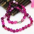 New arrival natural agate rose red stripe carnelian onyx 8mm round beads necklace for women chain choker jewelry 18inch B3198