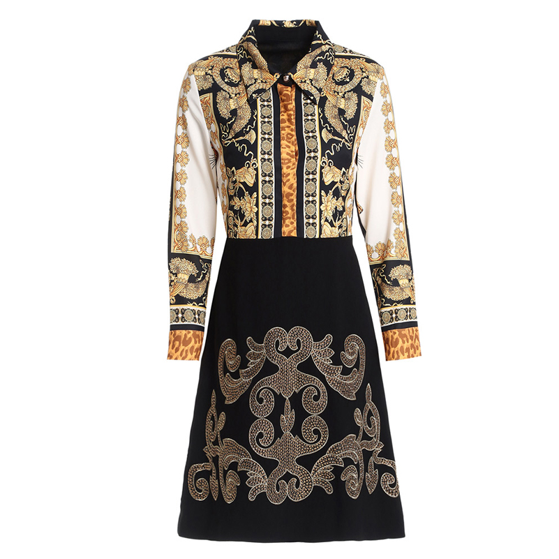 Qian Han Zi 2019 New High Quality Autumn Dress Women's Long Sleeve Lapel Print Shirt Patchwork Embroidered Vintage Party Dress