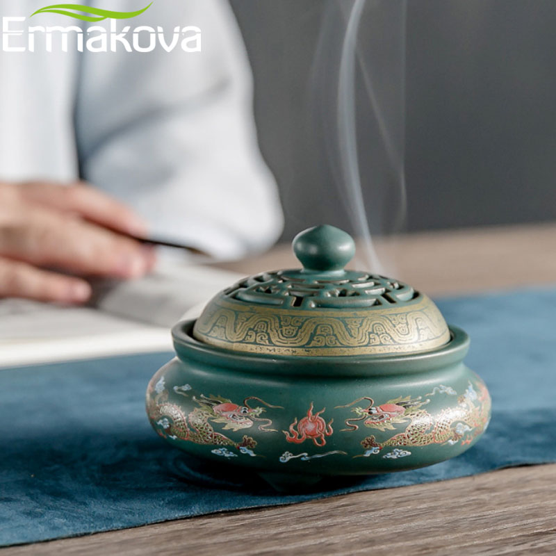 ERMAKOVA 4 Styles Ceramic Incense Burners Porcelain Censer Buddhism Stick Incense Holder Home Teahouse Desktop Deocoration