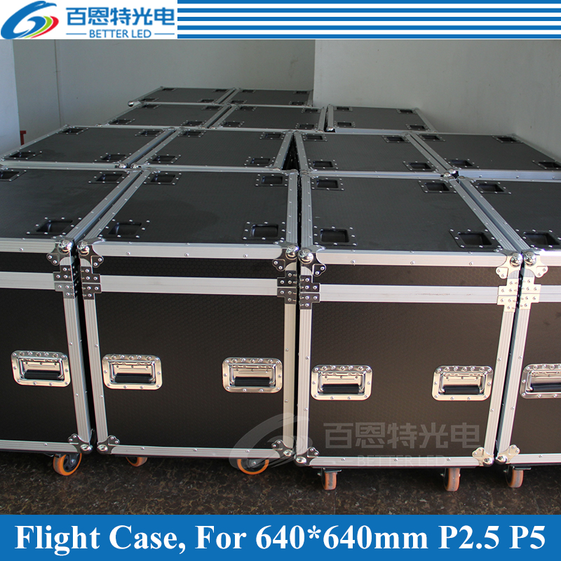 P2.5 P5 Die Casting Aluminum Rental LED Display Cabinet Flight Case, 1 Flight Case Pack 6 Pcs 640mmX640mm Cabinet