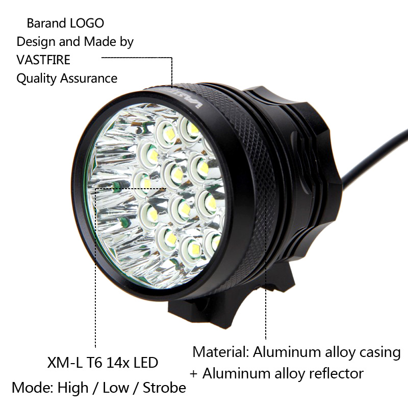 60000LM Super Bright Bicycle Front Light Cycling Headlamp 12000mAH Battery Pack