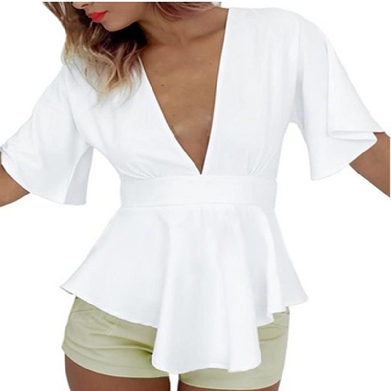 4d51235c162 White blouse back out shirts cut shirt v neck backless top peplum ...