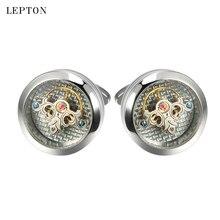 Lepton Exquisite Tourbillon liikumine Mannekapslid meestele Pulmad peigmees Steampunk käigukasti mansetinööbid Relojes gemelos
