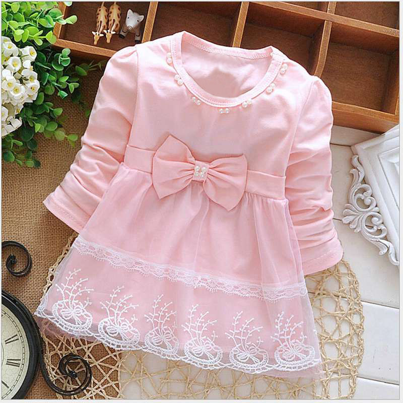 Long Sleeve Baby Girls Dress New Spring Autumn Baby Girls Clothes Cute Bow Newborn Princess Clothing 1 Year Birthday Party Dress 2015 new spring autumn korea style girls cute leather lace patchwork princess long sleeve dresses baby boutique dress