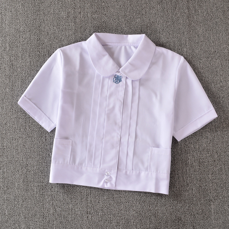 "Super Cute ! Schoolgirl Peter Pan collar short-sleeve White shirt "" Embroidery organ pleated"""