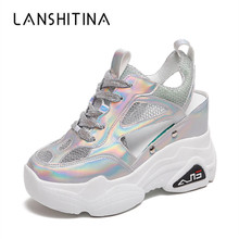 2019 Summer Women Sneakers Mesh High Platform Trainers White Shoes 9CM Heels Wedges Sandals Breathable Woman Casual